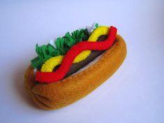 Felt food Hot dog set eco friendly childrens pretend felt play food for kids toy kitchen