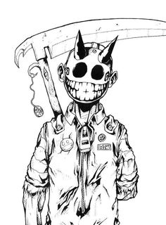 Jester by randomINKstudios on DeviantArt Creepy Drawings, Dark Art Drawings, Art Drawings Sketches, Cool Drawings, Graffiti Cartoons, Graffiti Characters, Arte Horror, Horror Art, Fantasy Character Design