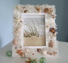 Nautical Decor Seashell Frame - Beach Decor Sea Glass & Shell Frames w… Seashell Picture Frames, Seashell Frame, Beach Frame, Seashell Art, Seashell Crafts, Beach Themed Crafts, Beach Crafts, Decor Crafts, Diy And Crafts