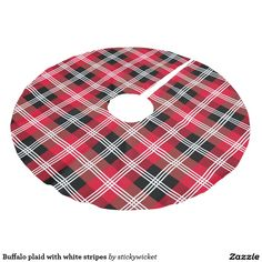Buffalo plaid with white stripes brushed polyester tree skirt