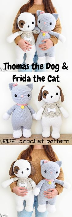 Two patterns for $10! Cats & dogs! Two big stuffed animal crochet patterns! Great Amigurumi patterns for a beginner crocheter! #etsy #ad