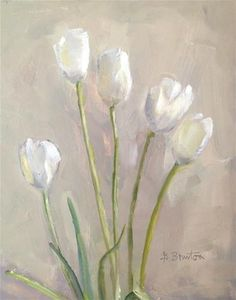 "Daily Paintworks - ""Cream Tulips II"" by Gary Bruton"