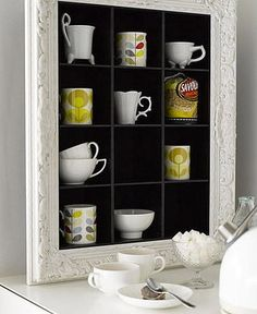 Re-Use Old CD Shelves as Kitchen Shelving for Mugs and Glasses + Add a frame