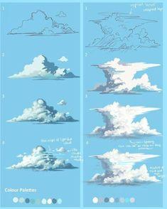 Development of a cumulous Cloud into a Cumulonimbus storm cloud.You can find Storm clouds and more on our website.Development of a cumulous Cloud into a Cumulonimbus storm cloud. Digital Painting Tutorials, Digital Art Tutorial, Art Tutorials, Concept Art Tutorial, Digital Paintings, Poses References, Art Studies, Painting & Drawing, Drawing Tips