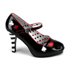 Funtasma Queen of Hearts Contessa ankle strap Mary Jane pumps in black. Full sizes only. 4 Inch Heel. Funtasma footwear runs small. We suggest that you purchase a size up if in between sizes, Ex: 8.5