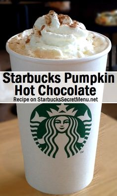We love how a simple addition like Pumpkin Sauce takes hot chocolate to a whole new level. Learn how to order here! Starbucks Fall Drinks, Starbucks Secret Menu Items, How To Order Starbucks, Starbucks Menu, Starbucks Recipes, Starbucks Coffee, Hot Coffee, Coffee Drinks, Starbucks Pumpkin