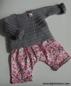 : tricot / couture : ensemble bébé 0-3 mois