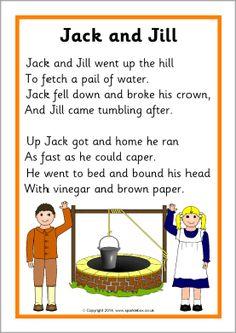 Jack and Jill Song Sheet Jack and Jill song sheet – SparkleBox Preschool Poems, Nursery Rhymes Preschool, Kindergarten Songs, Rhyming Activities, Kids Poems, Rhyming Poems, Nursery Rhymes Lyrics, Nursery Songs, Songs For Toddlers