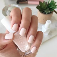 """essie Gel Couture Spring 2017 Ballet Nudes Collection in """"Lace Me Up"""" (barely there pale pink color) nail swatch"""