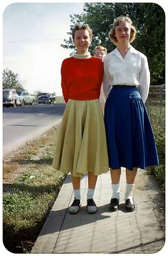 1955 - This makes me look back and picture my friend Nancy and I walking to school years ago.  No the photo is not us.