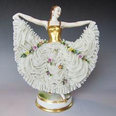 dresden figurines | Antique German Porcelain Volkstedt Dresden Art Deco Lady Figurine ...