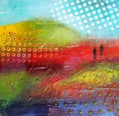 """Nancy Létourneau (Pixels) (Série Footprint) Espérance, 2016 Technique mixte sur bois 10"""" x 10"""" Pixel, Western Art, Illusions, Renaissance, Abstract Art, Creations, Painting, Woodwind Instrument, Painting Art"""
