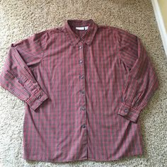 Elisabeth by Liz Claiborne long sleeve shirt. Colors in the plaid are red, green, white, blue, black and yellow. Black buttons. Excellent condition. Elisabeth Tops Blouses