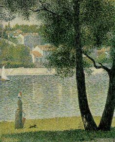 "Georges Seurat ""The Seine at Courbevoie"", 1885 (France, Post-Impressionism / Pointillism, cent. Georges Seurat, Puntillismo Seurat, Albertina Wien, Seurat Paintings, Pop Art, Impressionist Art, Art Moderne, French Art, Beautiful Paintings"
