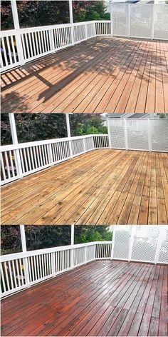 Before, After Cleaning and Stained Redwood Deck with White Railings.