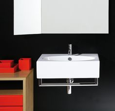 LFT54 | LFT spazio Ceramica Simas Rectangular counter top or wall hung washbasin 61 pre-punched for single tap hole.