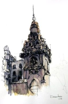 Sketch by Norberto Dorantes Pen And Watercolor, Watercolor Paintings, Drawing Sketches, Drawings, Drawing Tips, Drawing Ideas, Art Alevel, Interesting Buildings, Sketch Inspiration