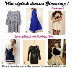 Win stylish dresses Giveaway !Fashion and Cookies - fashion blog