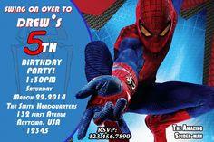 Superhero Birthday Invitation, Spiderman Birthday Invitation, Spiderman