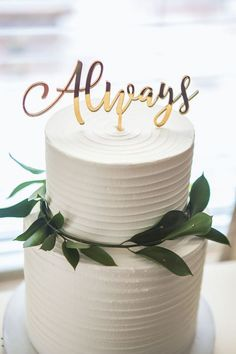 chiс wedding cakes with golden-topper-and greenry zcreatedesign