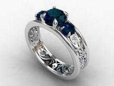 London blue topaz ring, filigree, engagement ring, blue topaz, wedding ring, trinity, blue engagement, lace, vintage style, three stone. $1,590.00, via Etsy.