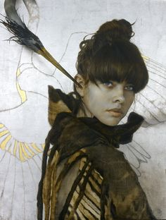 the paintings and artwork of brad kunkle. gold leaf artist and painter brad kunkle. Brad Kunkle, Painted Leaves, Foto Art, Leaf Art, Figure Painting, Woman Face, Gold Leaf, Artist At Work, Figurative Art