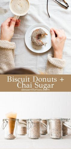 Biscuit donuts are an easy donut recipe made with canned biscuit dough. Easy canned biscuit donuts are so fun and easy to make. Biscuit donuts with chai sugar from canned refrigerated biscuits. Easiest 2 ingredient donuts. #twoingredient #2ingredient #biscuitdonuts #biscuitdoughnuts #cannedbiscuits #refrigeratorbiscuits #donuts #doughnuts #chai #chaispice Canned Biscuit Donuts, Canned Biscuits, Fun Recipes, Donut Recipes, Baking Recipes, Small Batch Baking, Easy Donut Recipe, Dessert For Two, Food Challenge