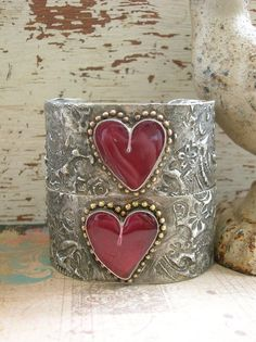 Heart cuff bracelet - Timeless - Boho jewelry, red heart love, country barn wedding jewelry, wine color, rustic mixed metals soldered