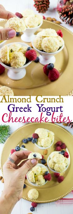 Almond Crunch Greek Yogurt Cheesecake Bites. Not your average cheesecake, these bites are made with ONLY Greek Yogurt, no cream cheese--so they're as light as can be! Totally divine creamy tasting cheesecakes with a crunchy almond coating! Perfect make ahead healthy Holiday dessert! Get the step by step recipe at www.twopurplefigs.com #ad #YogurtInspiration
