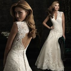 Modest Mermaid Fitted Lace Keyhole Back Wedding Dress 2013 With Illusion Neckline