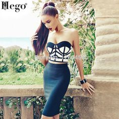 HEGO 2015 Strapless 2 Piece Set Pencil Bandage Dress Rayon Celebrity Dresses With Factory Direct HL061