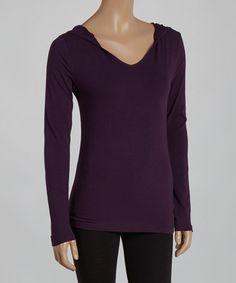 Love this Dark Purple Hooded Tee Shirt by Zenana on #zulily! #zulilyfinds