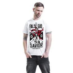 """Classica T-Shirt uomo bianca """"False God"""" di Batman v Superman con scollo tondo e ampia stampa frontale."""