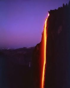 Horsetail Fall, Yosemite. Glows red in the afternoon sun in February.
