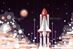 Modern Flat Design Illustration of Space Shuttle