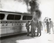 Thanks to a gift of photographic prints from the Anniston, Alabama law firm of Merrill, Merrill, Mathews & Allen, BCRI was able to create an exhibition entitled Courage Under Fire: The 1961 Burning of the Freedom Rider's Bus.      The photographs were taken by Joseph Postiglione on May 14, 1961, the day that a group of Freedom Riders onboard a Greyhound bus was attacked by locals opposed to the desegregation of public transportation facilities.  The images, which quickly made the news…