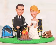 Camping trip theme topper  Personalised by UniqueCakeToppers #weddingcaketopper #3dtopper #minime #campaigningsite