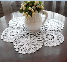 Vintage  look  crocheted  table cloths  24 In by TableclothShop, $10.90