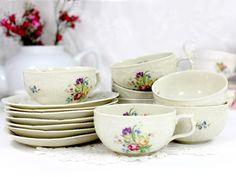 Rosenthal Sanssouci 7 Tea Cups and 7 Saucers Floral Cream Porcelain Teacups 12453