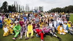 The Onesie Funsie Walkie Runsie launch at Canberra Grammar. Students dressed in Onesies in front of the Snowy Hydro SouthCare Rescue Helicopter.