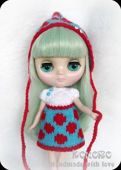 Blythe Middie Hand Knitted Outfit  Dot Jacquard  by kokorogumis, $18.00