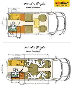 Grundrisse des TrioStyle auf Transporter kurzer Radstand und langer Radstand