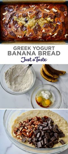 My secret to the best-ever banana bread? Greek yogurt! It adds moisture and protein to everyone's favorite quick bread. This easy banana bread recipe is a healthy breakfast, snack or dessert option! | Greek Yogurt Banana Bread recipe from justataste.com #easybananabreadrecipe #bananabreadrecipe #recipes #food #healthybreakfast #healthysnacks #justatasterecipes Greek Yogurt Banana Bread, Easy Banana Bread, Quick Bread, Healthy Banana Recipes, Banana Bread Recipes, Healthy Breakfast Snacks, Good Food, Yummy Food, Greek Recipes