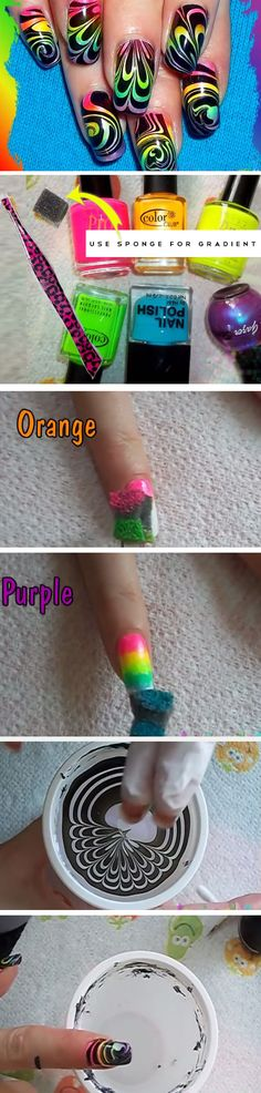 Rainbow Water Marble | Cute Summer Nail Art Ideas for Short Nails