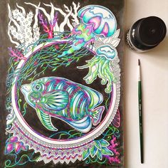 My coloring book #ветеруноситцветы #coloring #coloringbook #coloringbookforadults #coloringtherapy #coloringmasterpieces #beautifulcoloring #fish #cute #pencil #zentangle #doodles #mifbooks #миф_раскраски #раскраски #раскраскидлявзрослых #ink #цветныекарандаши #art #illustration Adult Coloring, Coloring Books, Colouring, Colored Pencil Techniques, 3 Arts, Colored Pencils, Zentangle, Instagram Posts, Artwork