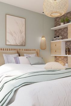 Fine Deco Chambre Inspiration Bord De Mer that you must know, You?re in good company if you?re looking for Deco Chambre Inspiration Bord De Mer Bedroom Furniture Makeover, Home Decor Bedroom, Bedroom Wall, Calm Bedroom, Minimalist Bedroom, Modern Bedroom, Sage Green Bedroom, White Bedding, Home Interior Design