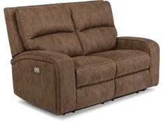Flexsteel Fabric Power Reclining Loveseat With Power Headrests At Howell  Furniture!