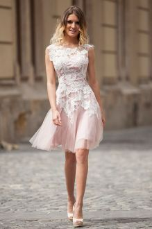 floral lace appliques dust pink mini tulle prom dress