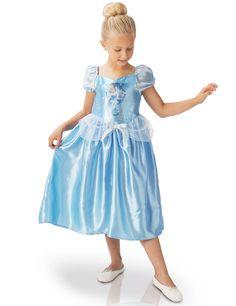 Disfraz Cenicienta clásico Fairy Tale™: Este vestido clásico de la princesa Cenicienta para niña tiene licencia oficial Disney.El de color azul satinado con manga corta y bombacha.Tiene velo blanco y lazo palteado en la...