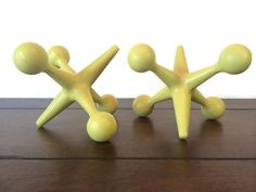 Retro Yellow Home Office Decor ~ Large Cast Iron Jacks Bookends ~ MidCentury Modern Style Paperweights Doorstop or Mid Century Retro Pop Art on Etsy, $59.99